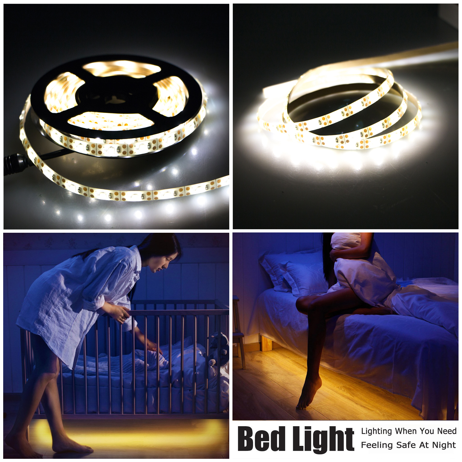 TSV 2M/3M LED Sensor Strip Auto Motion Activated Bed Light Battery Operated Warm White
