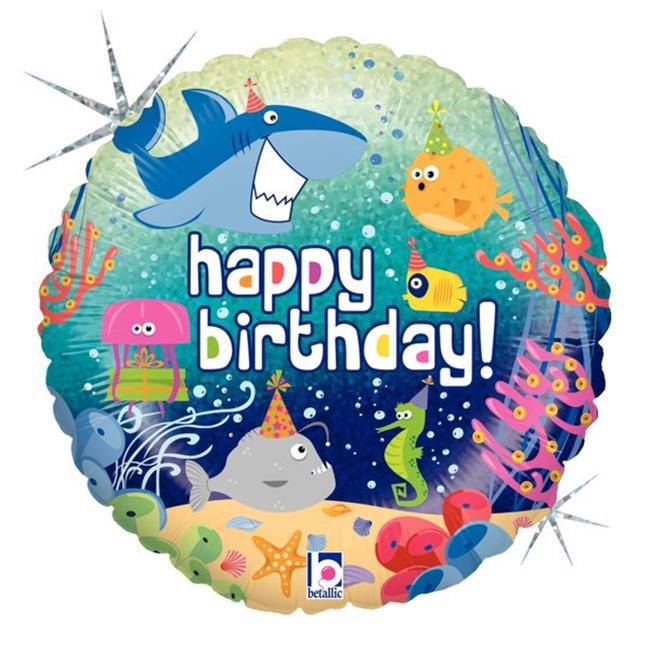 Betallic 86582 18 in. Birthday Ocean Holo Flat Foil Balloon, Pack of 5