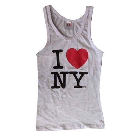 I Love NY Tank Top Ladies Heart Logo Womens New York City Summer (White,