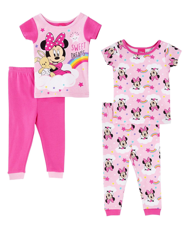 Disney Girls Minnie Mouse 4 Piece Cotton Pajama Set (Toddler)