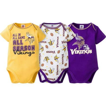 417800318 Nfl Minnesota Vikings Baby Boys 3-pack S - Walmart.com