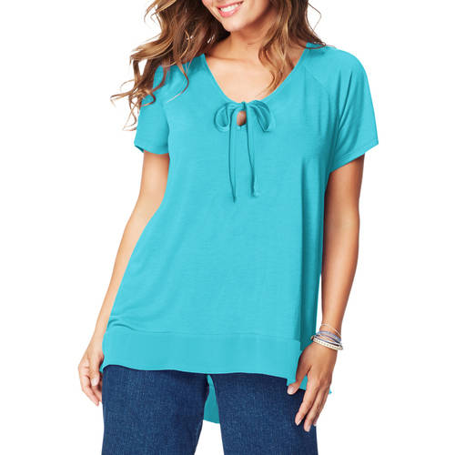Just My Size Womens Plus-Size Chiffon Trim Tunic