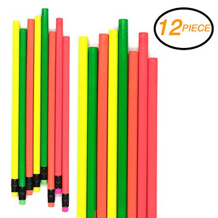 Emraw Colorful Round No 2 HB Fluorescent Colored Wood Cased Pencils with Eraser Top - Pack of 16 Unsharpened Sparkling Bright Pencils