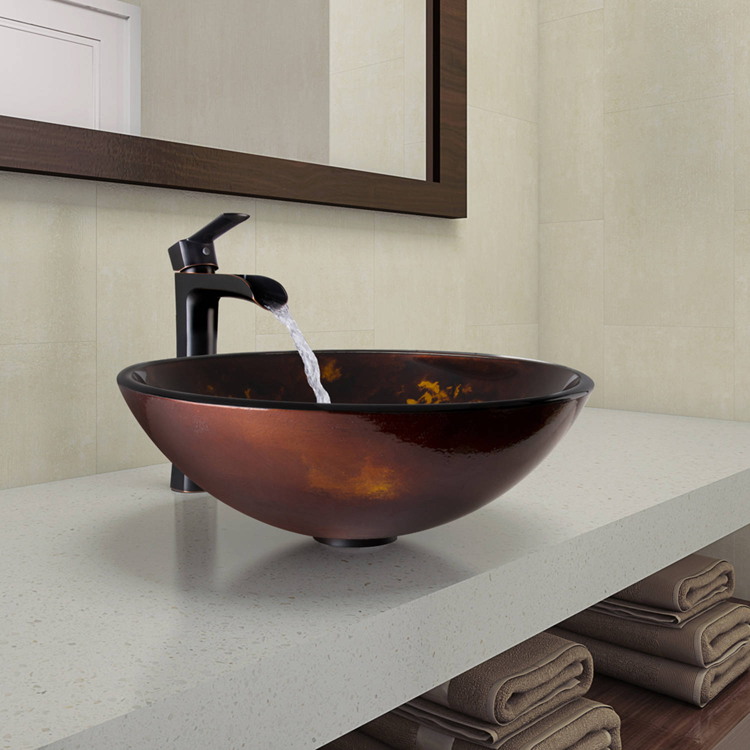 VIGO Glass Circular Vessel Bathroom Sink with Faucet
