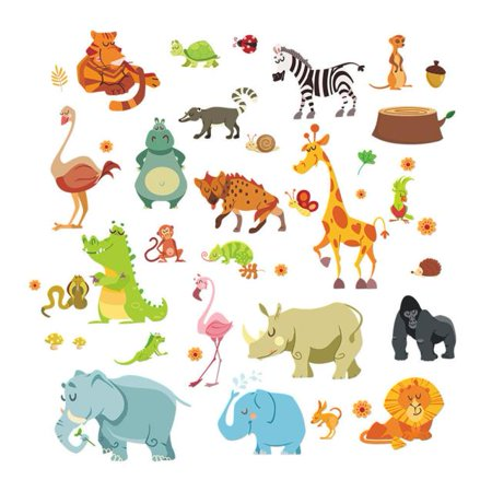 Mosunx Forest Animals Elephant Squirrel Kidergarten Wall Stickers For Kids Room (Jungle Animals Wall Stickers)