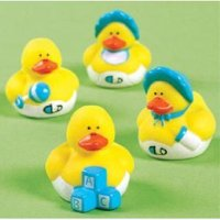 """Vinyl Mini Baby Shower Rubber Duckies - 24 Pieces, Each measures 1-1/2""""H x 1-3/4""""L x 1-1/2""""W. By Fun Express"""