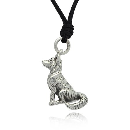 German Shepherd Dog 92.5 Sterling Silver Charm Necklace Pendant Jewelry With Cotton Cord