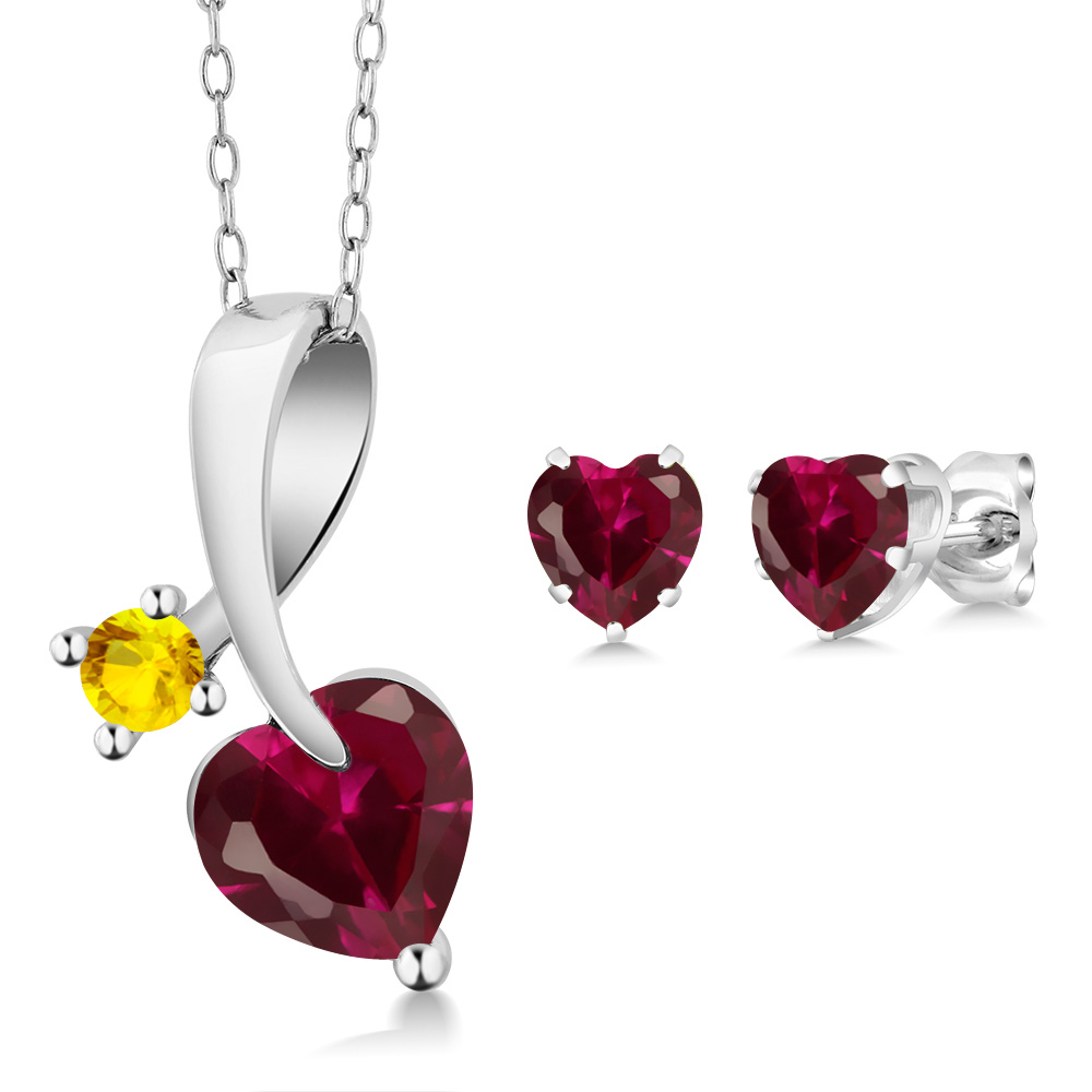2.73 Ct Heart Shape Red Created Ruby 14K White Gold Pendant Earrings Set by