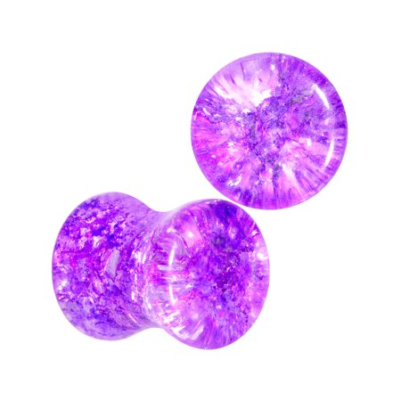 Body Candy 2 Gauge 2Pc Purple Glass Shattered Pattern Saddle Plug Double Flare Ear Plug Gauges Set of 2 6mm Double Flare Saddle Plugs
