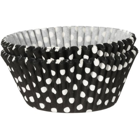 (4 Pack) Wilton Black Dots Baking Cups 50 ct Carded (Black About Dots Chenille)