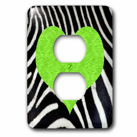 Green Zebra Animal Print - 3dRose Punk Rockabilly Zebra Animal Stripe Green Heart Print - 2 Plug Outlet Cover (lsp_20391_6)