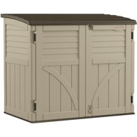 Suncast 34 cu. ft. Horizontal Resin Storage Shed for Backyard and Patio, Sand Brown