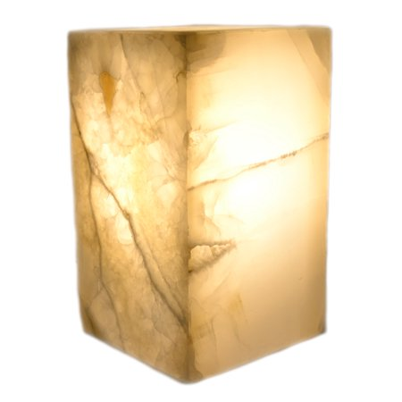 """Marble White Stone Prism Lamp, 10"""" Tall, Carved From Real North American Onyx - The Artisan Mined Series by hBAR"""