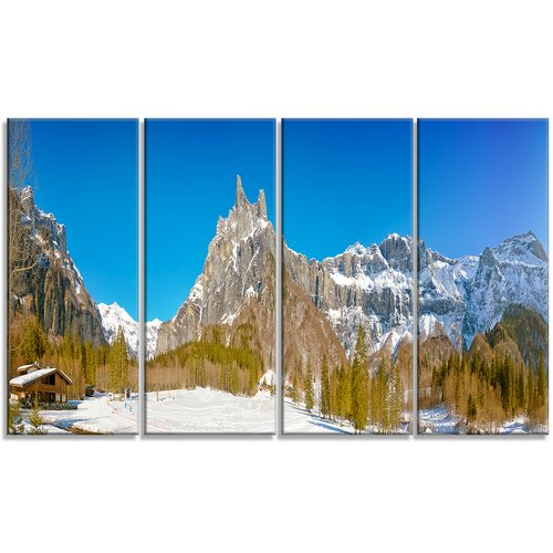 Design Art 'Sixt Fer a Cheval' Panoramic View 4 Piece Wall Art on Wrapped Canvas Set