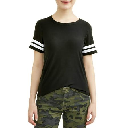 Juniors' Yummy Knit Varsity Stripe T-Shirt - Junior Varsity Jacket