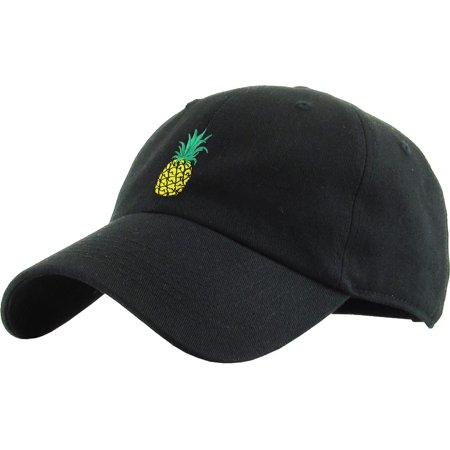 Pineapple Black Dad Hat Baseball Cap Polo Style Unconstructed Adjustable Banana Guac Grape Melon Berry Lemon Lime Weed Marijuana (Lime Berries)