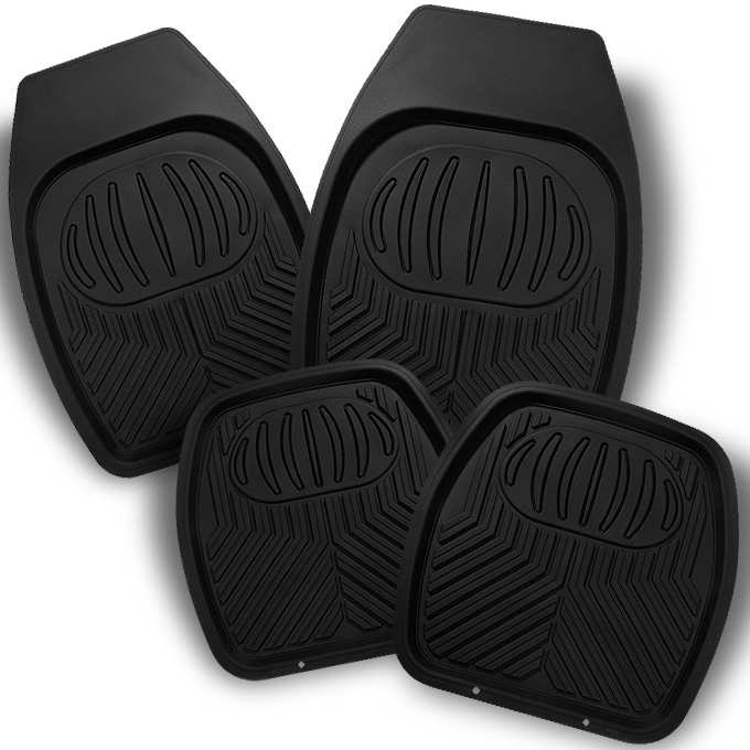 All Weather Deep Dish Black Car Front + Rear Floor Mats 4 Pcs Liner Heavy Duty