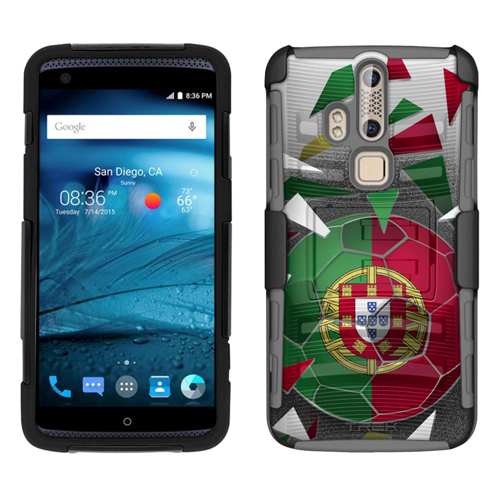 ZTE Axon Pro Armor Hybrid Case Soccer Ball Portugal Flag 2 Piece Case with... by Trek Media Group