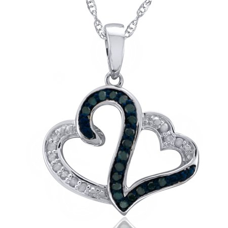 Heart 2 Heart 1 4 Carat T W  Diamond Sterling Silver  Blue And White Diamond Pendant With Chain