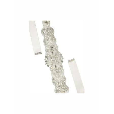 Women's Rhinestone Bead Decor Satin Ribbon Wedding - Beaded Decor Satin
