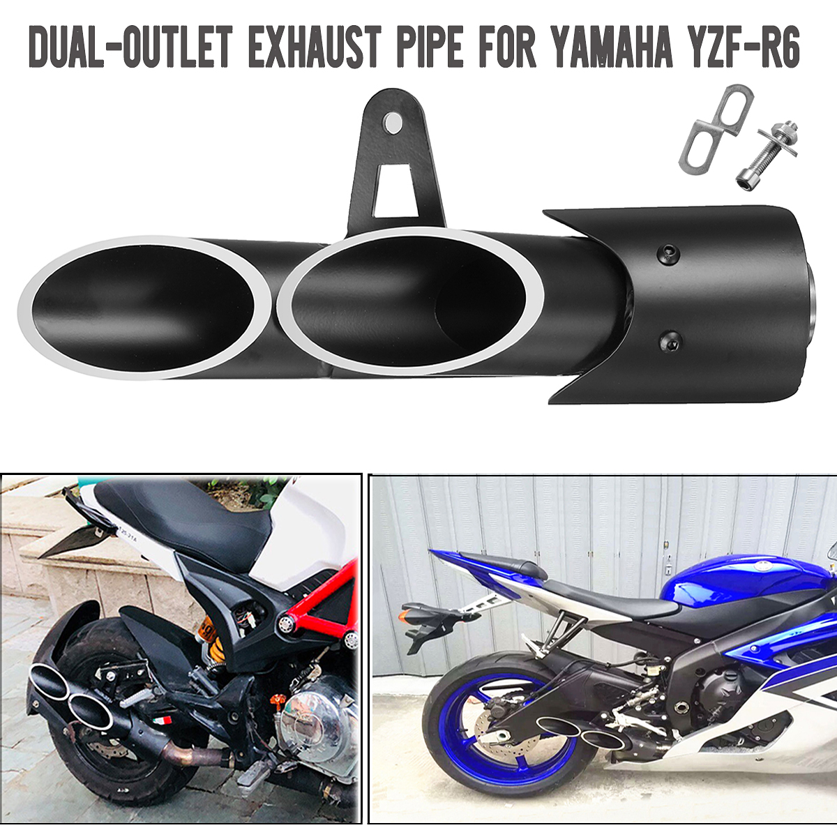 Motorcycle Three-outlet Exhaust Tail Pipe Muffler For Yamaha YZF-R6 Suzuki GSX-R