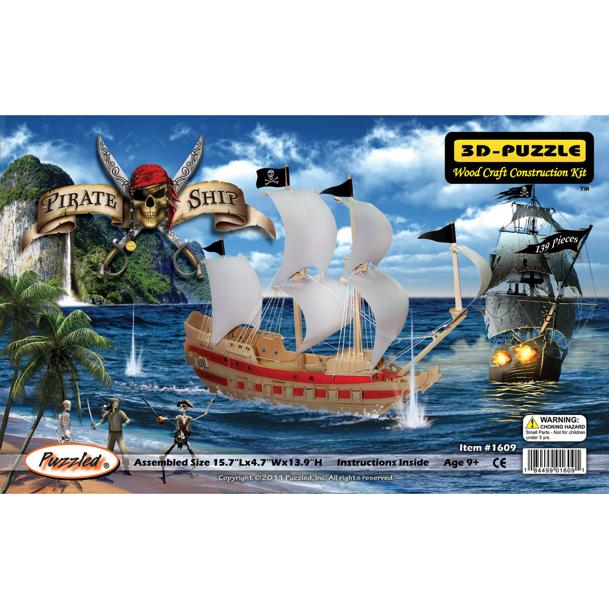 "Jigsaw 3D Puzzle 139 Pieces 15.7""X4.7""X13.9""-Pirate Ship"