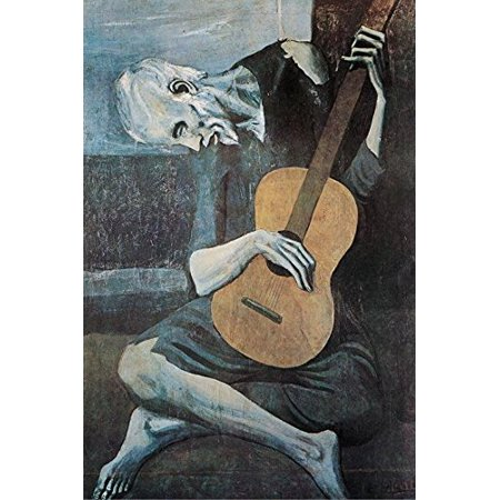 HG AP599 Old Guitarist by Pablo Picasso 36x24 Art Print Poster Museum Masterpiece Famous Painting ()