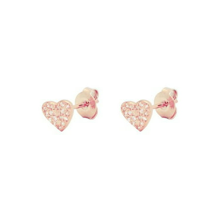 Designer .925 Sterling Silver Sparkling Pave CZ Heart Stud Earrings dipped in Rose Gold