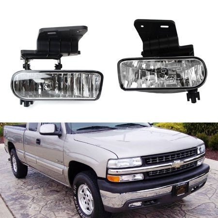 iJDMTOY Clear Lens Fog Lights Foglamp Kit with 880 Halogen Bulbs w/ Mounting Brackets For 1999-2002 Chevrolet Silverado 1500 2500, 2000-2001 3500, 2000-2006 Suburban (Fog Light Mounting)