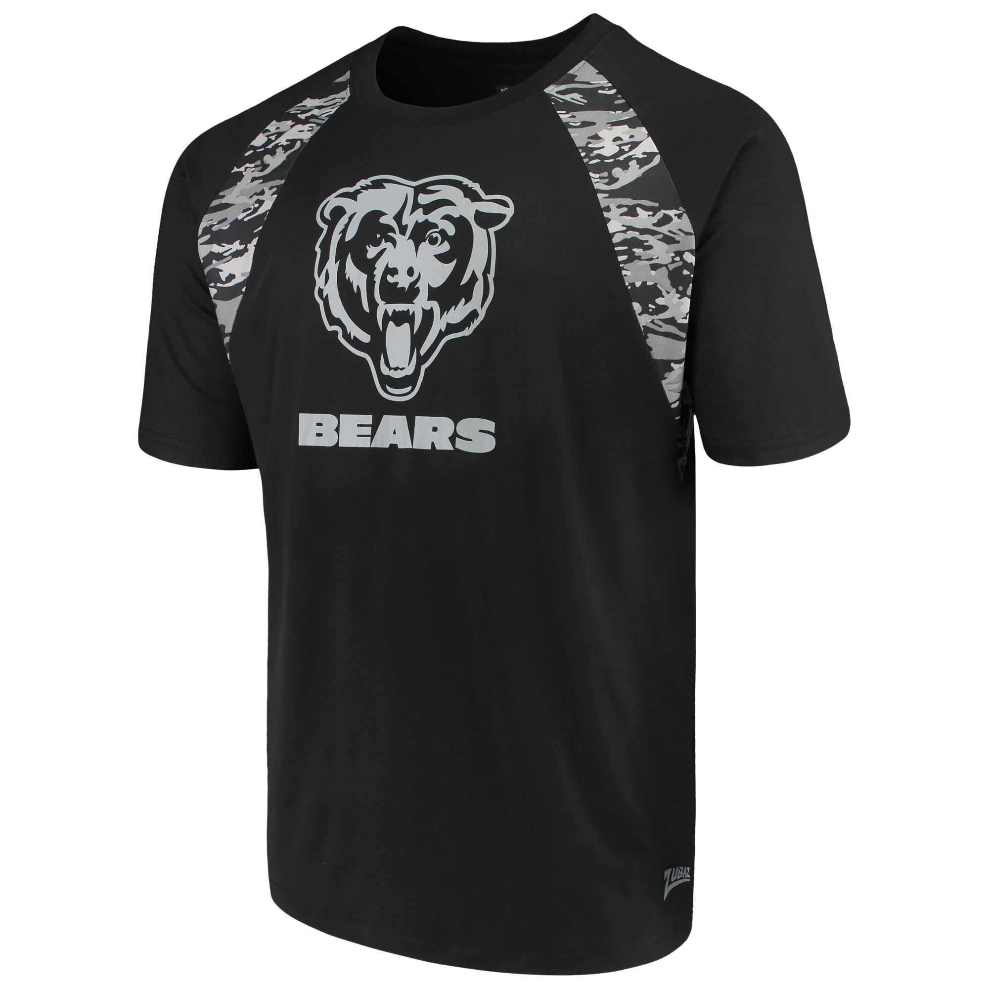 Men's Zubaz Black Chicago Bears Camo Raglan T-Shirt