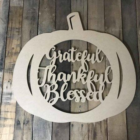 "12"" Thankful, Blessed, Framed Pumpkin Wooden (MDF) Cutout"