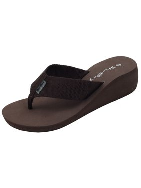 StarBay Women's Comfort Medium Wedge Canvas upper EVA Thong FlipFlop Sandal with Brown Color