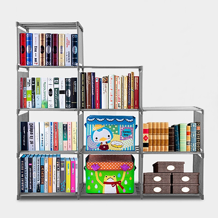 Home Furniture Adjustable Bookcase Fashion Korean Storage Bookshelf with 9 Book Shelves HITC