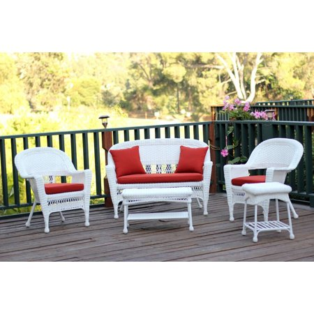 5-Piece White Wicker Patio Chair, Loveseat & Table Furniture Set - Red Orange Cushions