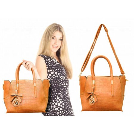 Evening Wear Accessories - Midsize Ladies Handbag - Tan with smaller companion bag Professional look for office use & Elegant for evening wear