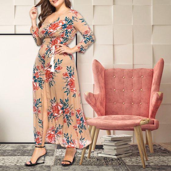 536f3db9483 Viugreum - Bohemian Super Plus Size V-neck Floral Print Sexy Split Lacing  Long Dress for Women