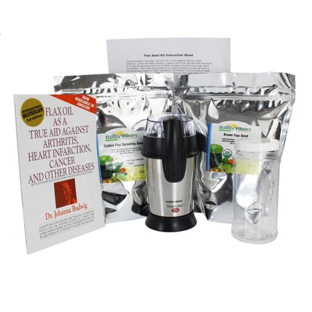 Organic Flax Seed Grinding Kit - Flaxseed Grinder, Brown & Golden Flax Seeds, Book & Instructions - Omega Oils, Fiber & Vegan Egg Substitute ()