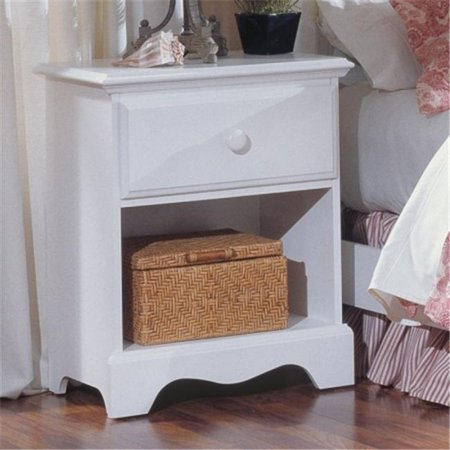 Carolina Furniture 412100 Cottage One Drawer Nightstand Bedside Table In White