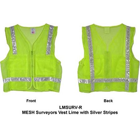 Mesh Surveyors Vest Lime with Silver Stripes - 3X-Large, Front nylon zipper closures By IronHorse Bicycles