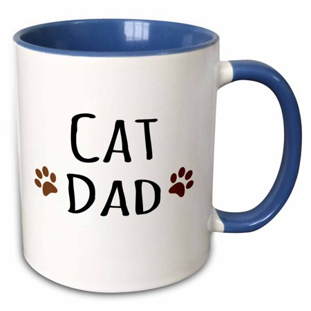 3dRose Cat dad text in black with two paw prints - for male pet owners and kitty lovers - Two Tone Blue Mug,
