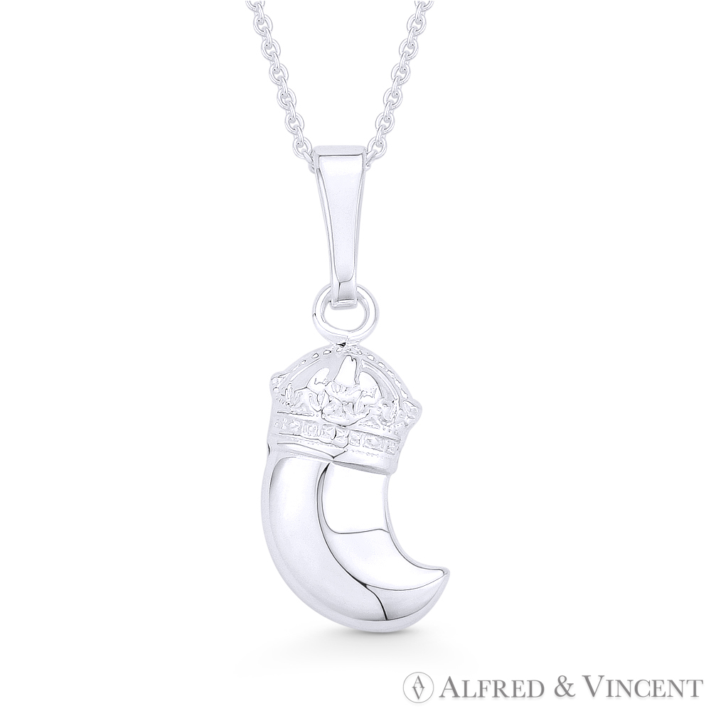 925 Sterling Silver Large Italian Horn Lucky Charm Pendant