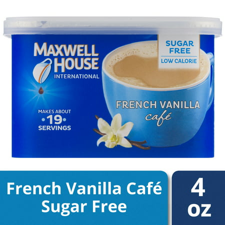 (2 Pack) Maxwell House International Sugar-Free French Vanilla Cafe Instant Coffee, 4 oz Canister