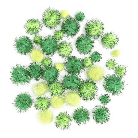 Darice Green Tinsel pom poms: 0.5 to 1 inch, 40