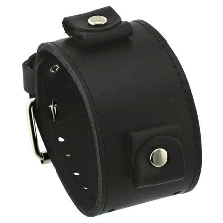 - LBB-KK 24 mm Lug Width Black Wide Leather Cuff Wrist Watch Band