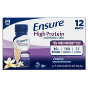 Ensure High Protein Nutritional Shake with 16g of High-Quality Protein, Ready-to-Drink Meal Replacement Shakes, Low Fat, Vanilla, 8 fl oz, 12 Count