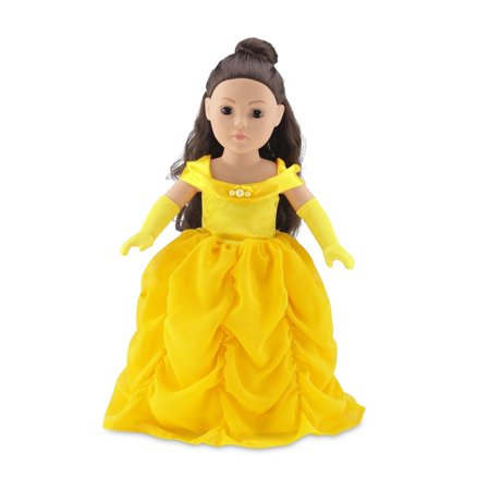 18 Inch Doll Clothes | Gorgeous Princess Belle-Inspired Ball Gown Outfit with Beaded Accents and Matching Elegant Gloves | Fits American Girl Dolls - Princess Jasmine Inspired Outfit