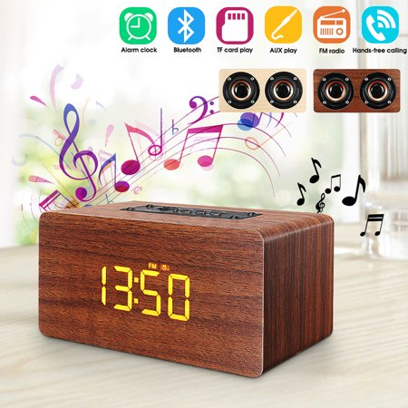 2 In1 Wireless Wooden bluetooth Speaker Double-side Alarm Clock Subwoofer Hi-Fi Music Player FM Radio TF/USB Stereo Hands-free calling ()