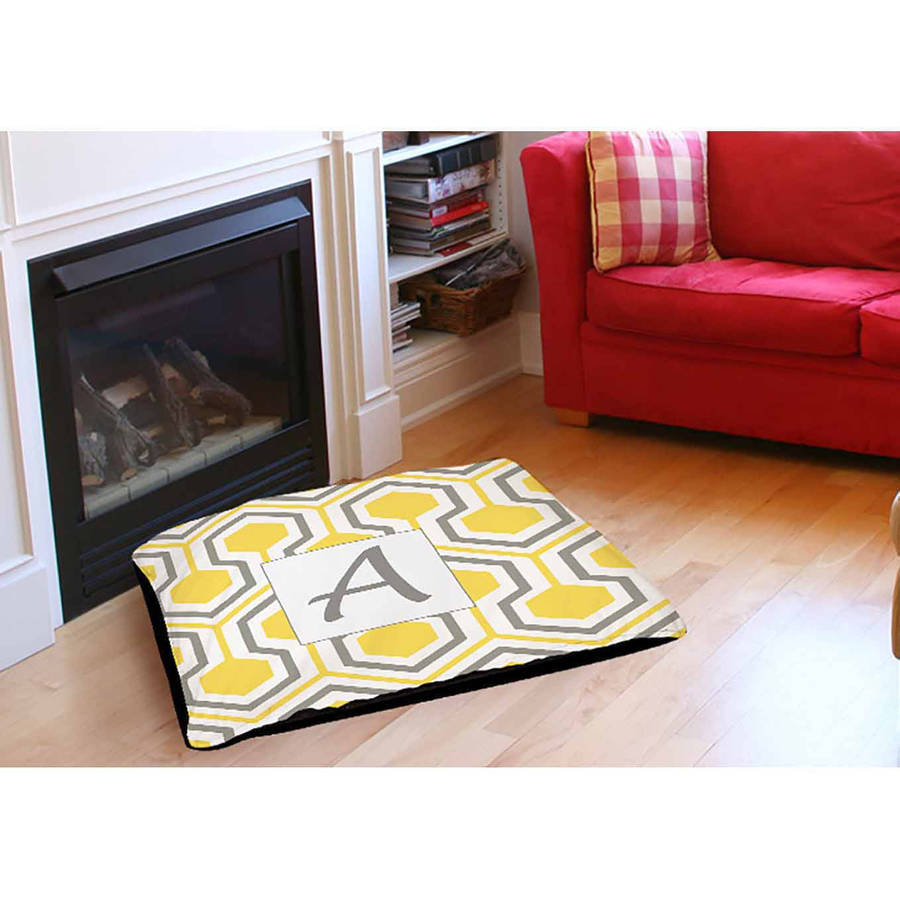 Thumbprintz Honeycomb Monogram Indoor/Outdoor Pet Bed, Yellow