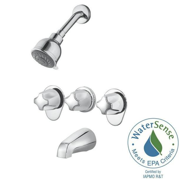 Pfister 3 Handle Tub Shower Faucet Polished Chrome Valve