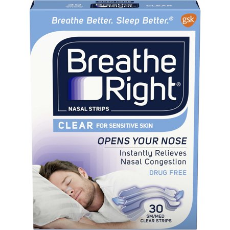 Breathe Right Clear for Sensitive Skin Small/Medium Drug-Free Nasal Strips for Nasal Congestion Relief, 30 count Breathe Right Nasal Strips